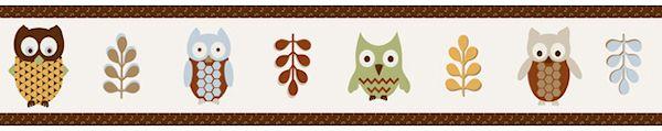 Owl Brown Wallpaper Border for Kids