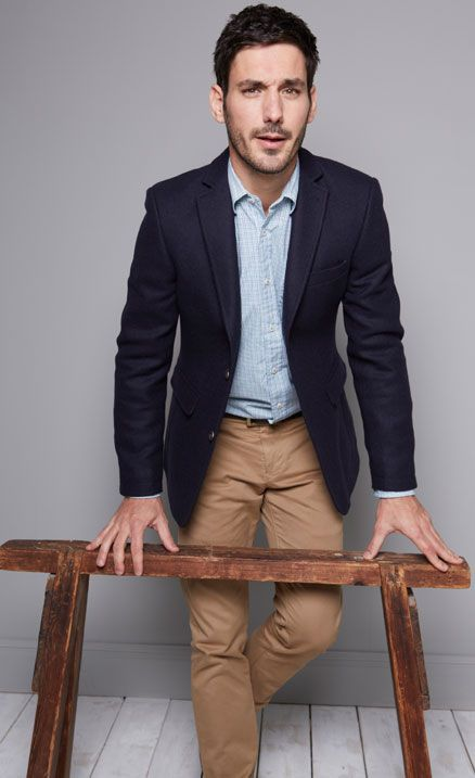 Navy blazer light blue chambray shirt khaki pants light for How to dress for a wedding men