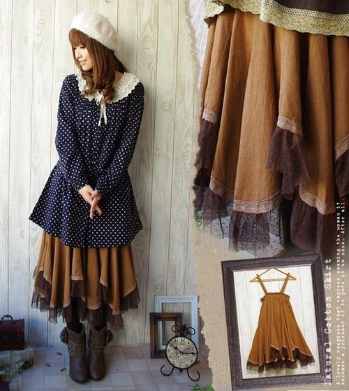 A great way to make two older dresses feel new by layering a winter dress over a summer dress.