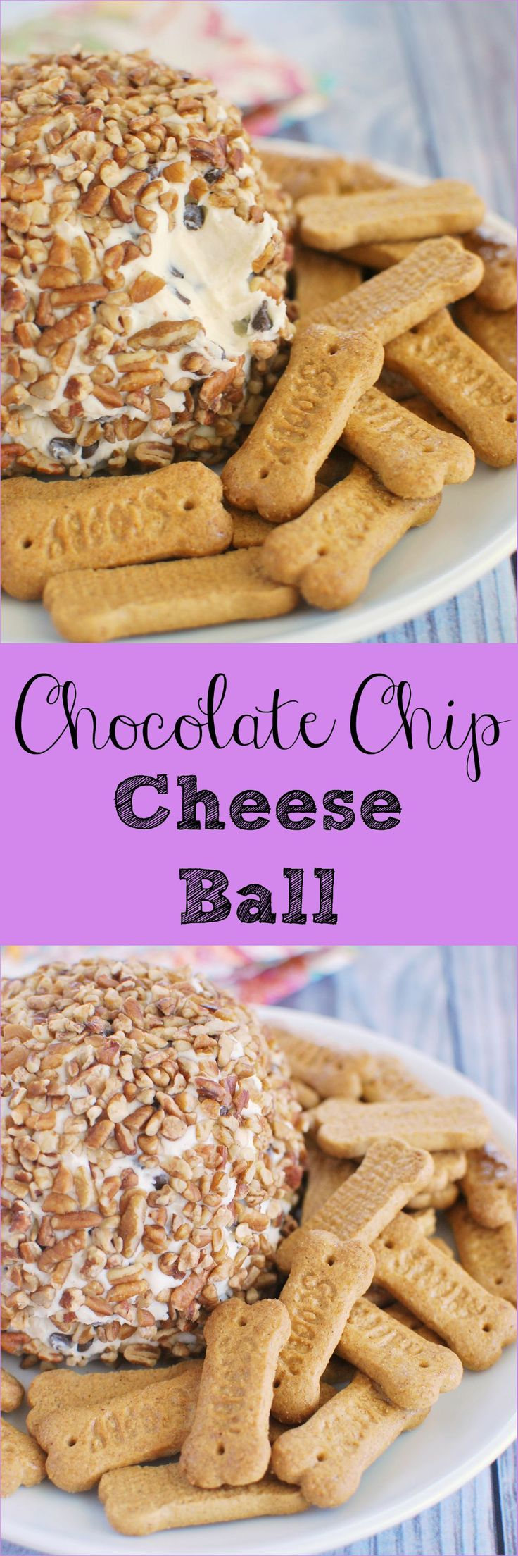 Chocolate Chip Cheese Ball - the most delicious dessert cheese ball! Serve with graham crackers for an irresistible snack!