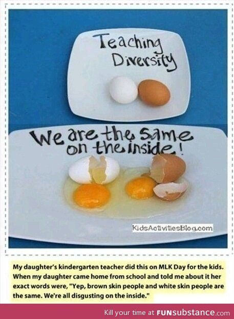 I really like this idea: we're all the same on the inside! True, it can miss the point for those who can't get enthusiastic about eggs.....