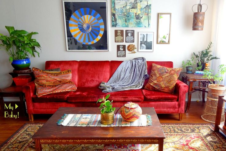 My Vintage Red Velvet Sofa & more on my ongoing vintage sofa obsession...on the blog!