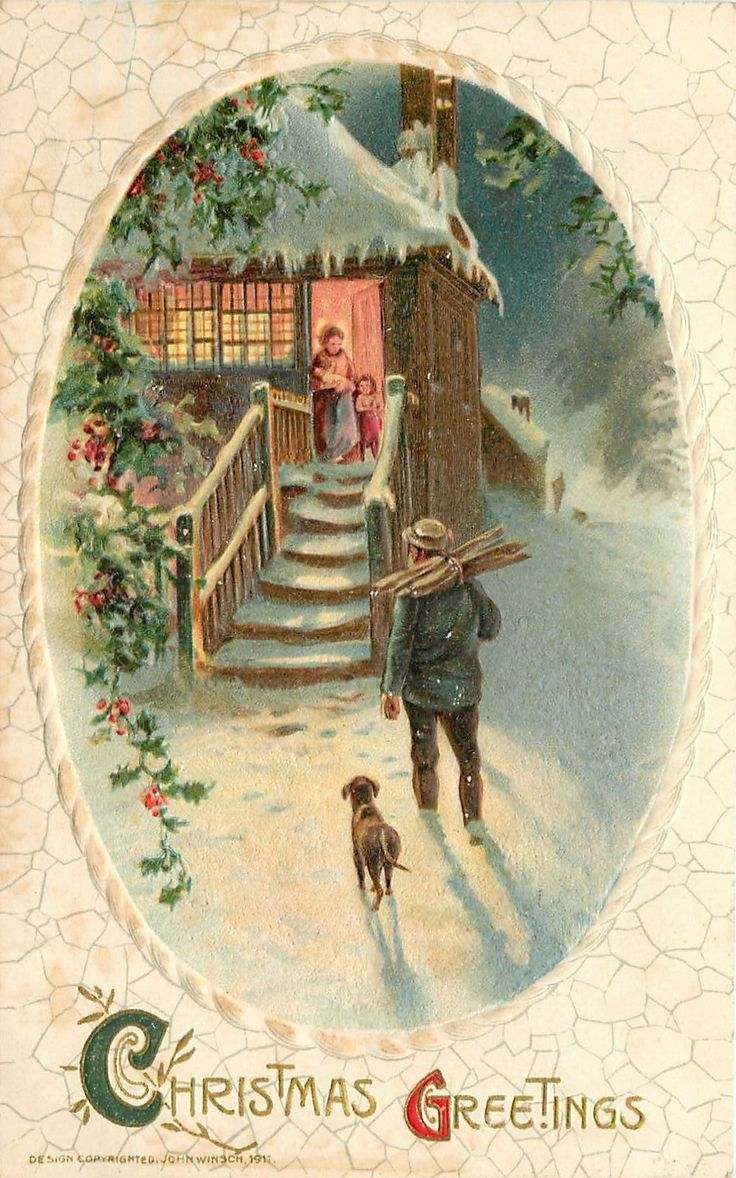 Free printable vintage christmas cards - Coming Home On A Chilly Winter S Day To A Warm Crackling Fireplace Vintage Postcard