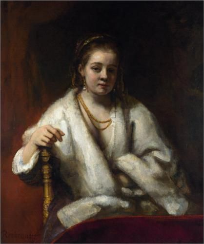 Portrait of Hendrickje Stoffels - Rembrandt His mistress, with whom he had a child