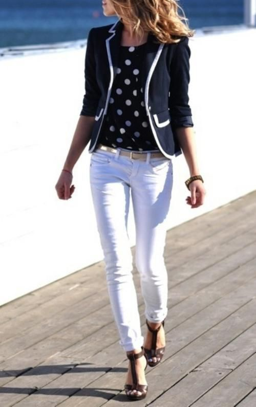Shop this look on Lookastic:  http://lookastic.com/women/looks/crew-neck-t-shirt-blazer-belt-skinny-jeans-heeled-sandals/9559  — Black and White Polka Dot Crew-neck T-shirt  — Black and White Blazer  — Gold Leather Belt  — White Skinny Jeans  — Dark Brown Leather Heeled Sandals