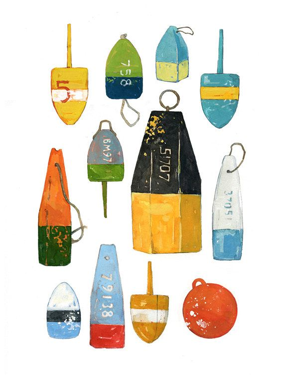 Lobster Buoys Watercolor Painting Colorful by studiotuesday, $35.00 | Downstairs powder room