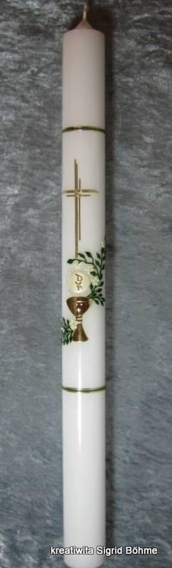 Kommunionkerze mit Kelch, Hostie und Kreuz // communion candle with chalice, host and holy cross