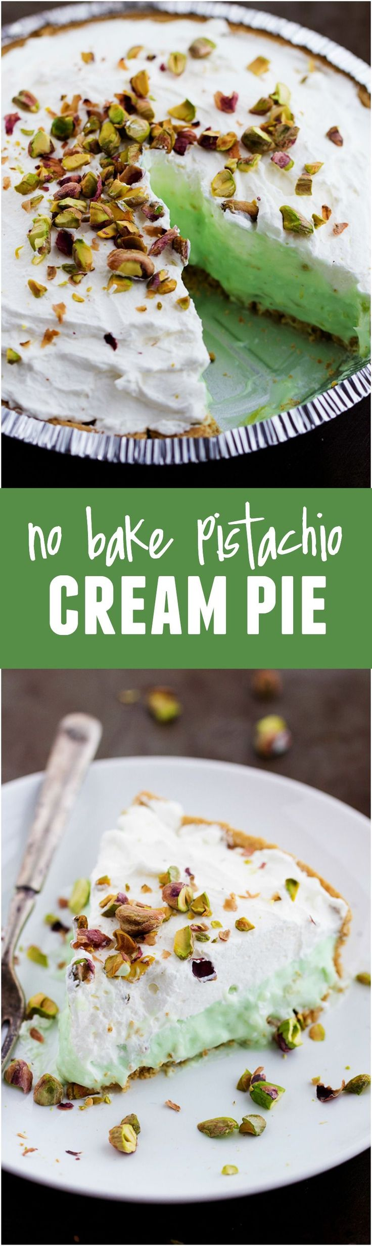 This Pistachio Cream Pie is No Bake and so easy to make! It is AMAZING!!!