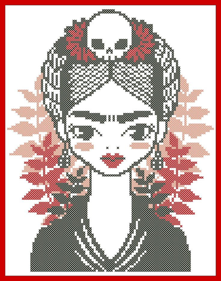 #289 BOGO FREE! Frida Kahlo Modern original cross stitch pattern pdf instant download For your consideration is a beautiful counted cross stitch pattern/chart as shown in the picture. Pattern Details: This pattern is in PDF format and consists of a floss list, and a color symbol