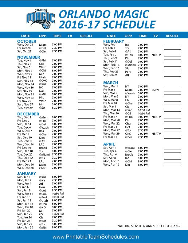 Orlando Magic Basketball Schedule 2016 - 2017 Print Here - http://printableteamschedules.com/NBA/orlandomagicschedule.php