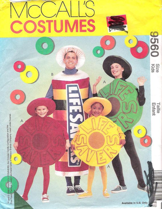 mccalls costumes 9560 size kids or adult 31 40 life savers candy costume sewing pattern 1998 uncut - Childrens Halloween Costume Patterns
