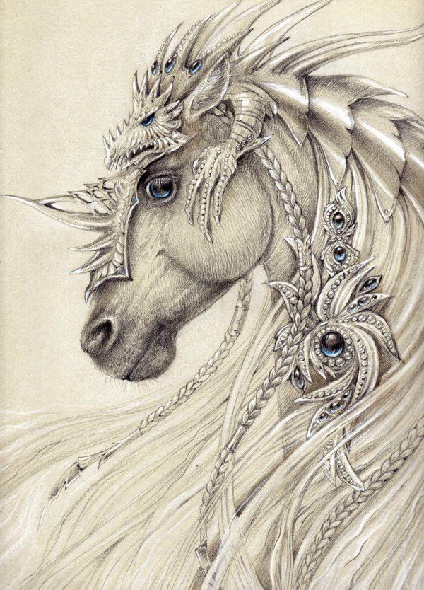 Elven horse by Anwaraidd. Nahar ♥. I think the dragon on the top is awesome as armor.