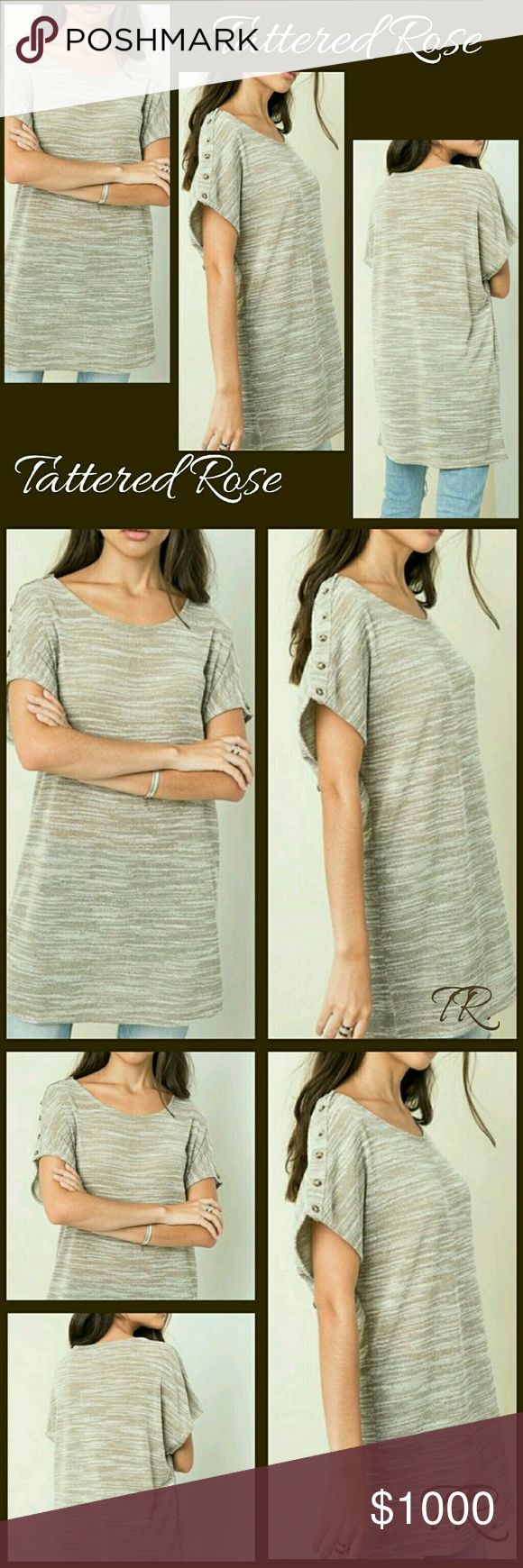 COMING SOON! Two Tone Tunic🍒30%Off Bundles🍒 Simplicity at its best! Take this tunic and run with it! This is the perfect top to accesorize! Add a scarf, a belt, a vest, a jean jacket or a statement necklace! Dress up or Down, your choice. Absolutely love this!  Scoop neckline, longer sleeves with button accents! Sewn with love made with 96%Rayon and 4%Spandex Tattered Rose Tops Tunics