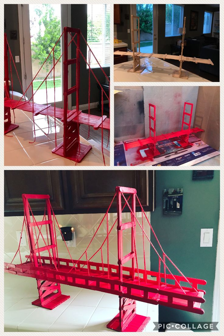 Golden Gate Bridge project Materials needed: 400+ popsicle sticks, hot glue gun, extra glue sticks (30), red spray paint, red string.