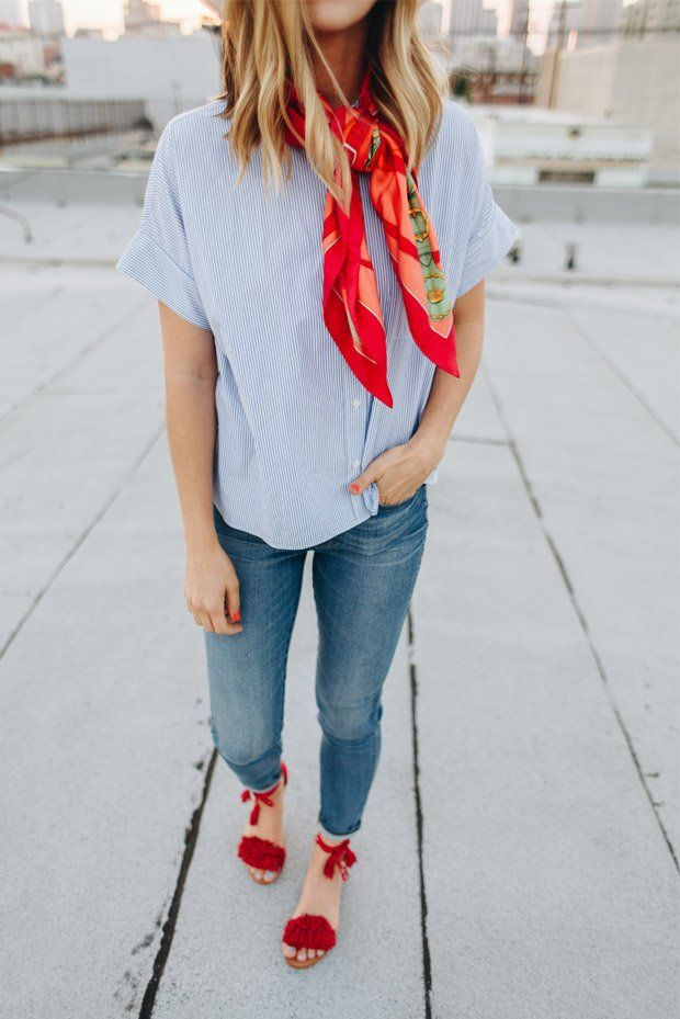 Michelle from Take Aim in the Everlane striped poplin shirt with jeans and a silk scarf