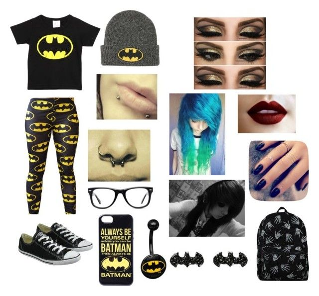 """""""batman kinda day Ronnie's warped outfit"""" by emogurl013 on Polyvore featuring Logoshirt, Converse, Muse and Lottie"""