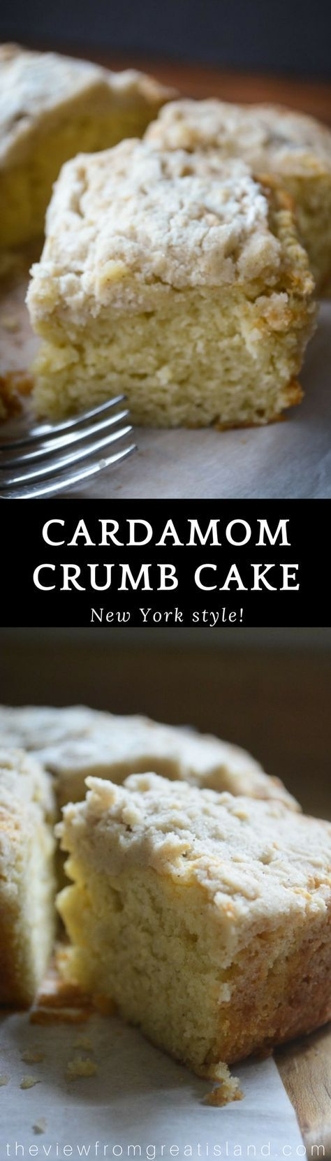 Cardamom Crumb Cake ~ this moist and pillowy New York style crumb cake takes coffee cake to a whole new level with the subtle warmth of cardamom. #cake #cardamom #coffeecake #crumbcake #newyorkcrumbcake #dessert #breakfast #cardamomcake #bestcrumbcake #spicecake