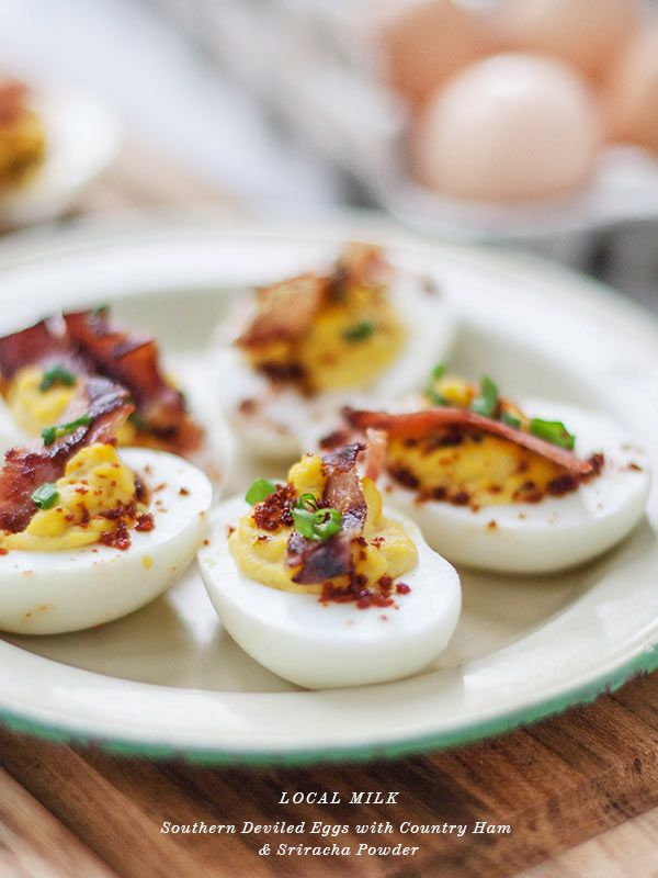 Southern Devilied Eggs with Bacon and Sriracha Powder pllus 12 Traditional Christmas Recipes