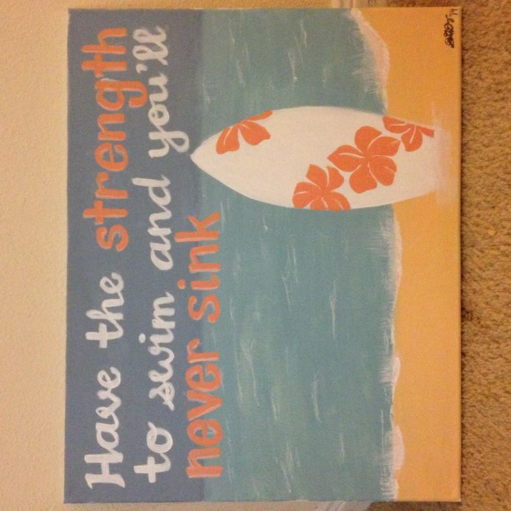 """Dorm decor   DIY canvas   blue coral   """"Have the strength to swim and you'll never sink""""   inspirational quote   college life"""