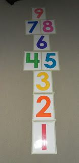 Hopscotch numbers on the carpet. I can make this for him for him to use in the winter when it's to cold to go outside
