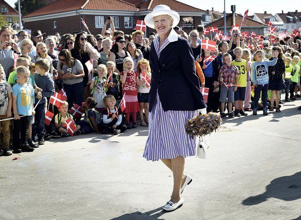 On August 30, 2017, Queen Margrethe of Denmark visited the island of Bornholm in Roenne, Denmark. Queen Margrethe is on a three-day visit to the island. The Queen will visit the rocky island's attractions, industries and public institution