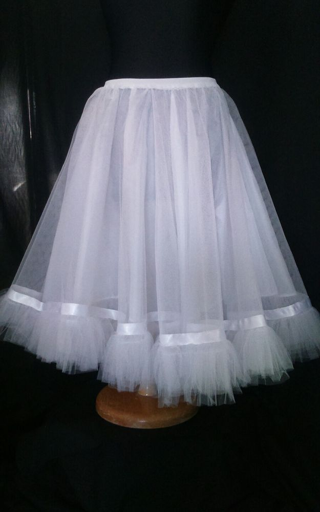 Layered petticoat rockabilly rock n roll full circle underskirt white size 14/16