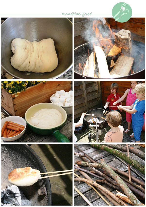 koken met kinderen op een kampvuurtje