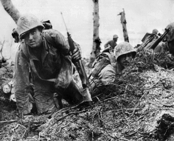 Peleliu 15 September 1944 White beach the look of fear od fatigue