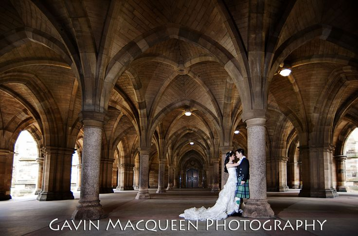 The Bride and The Groom in The Cloisters at Glasgow University.