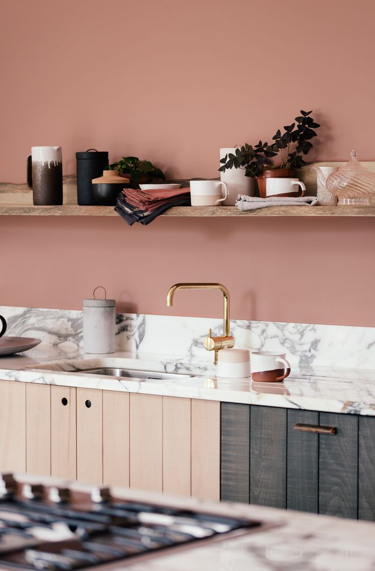 This beautiful terracotta wall works so perfectly with our Sebastian Cox cupboards and handmade deVOL Kitchenware