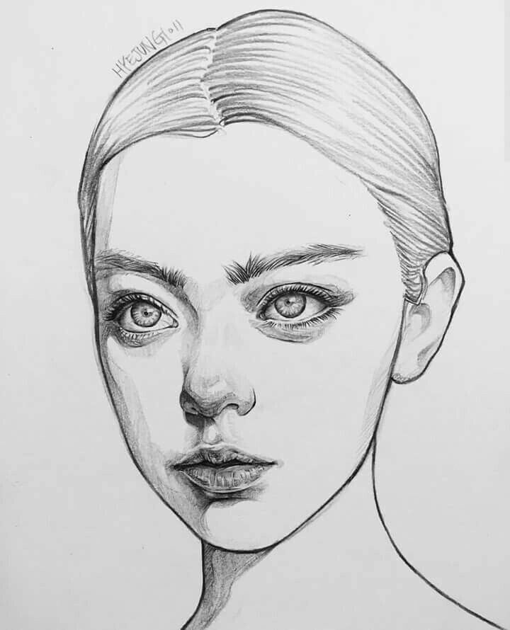 Рисунок лица девушки
