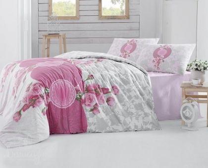 Купить постельное белье RANFORCE ROSEN розовое 50х70 евро от производителя Altinbasak (Турция)