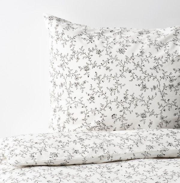 Kopparranka Duvet Cover And Pillowcase S White Dark Gray Twin Ikea In 2021 Duvet Covers Dark Grey Duvet Covers Queen Duvet Covers