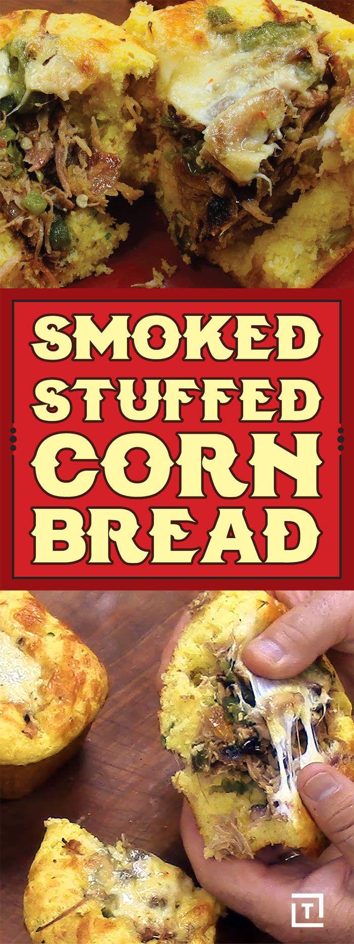 Smoked Stuffed Cornbread Recipe Video - Thrillist