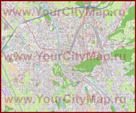 Подробная карта города Зальцбург