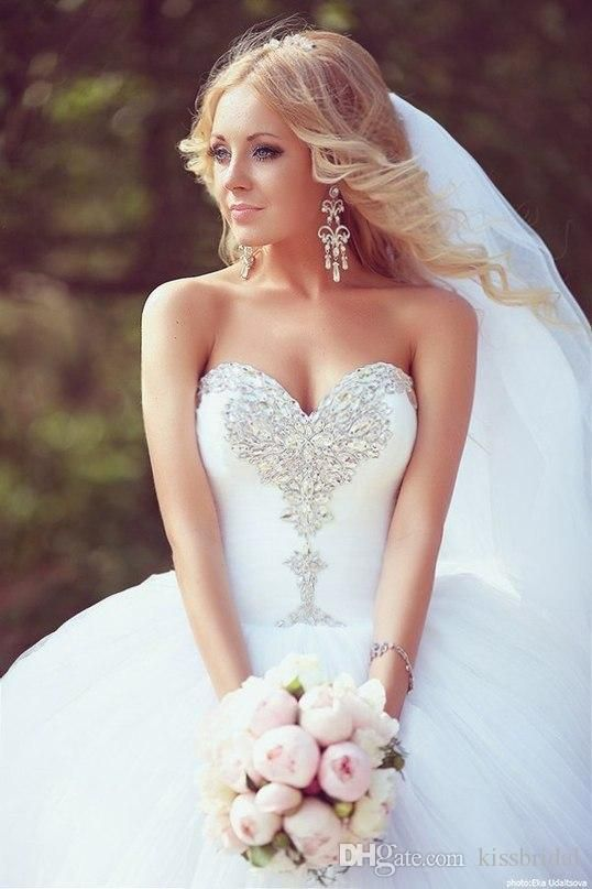 Wholesale 2015 Bling Bling Ball Gown Wedding Dresses White Crystal Beaded Sweetheart Plus Size Tulle Court Train Bridal Gowns, Free shipping, $141.93/Piece | DHgate Mobile