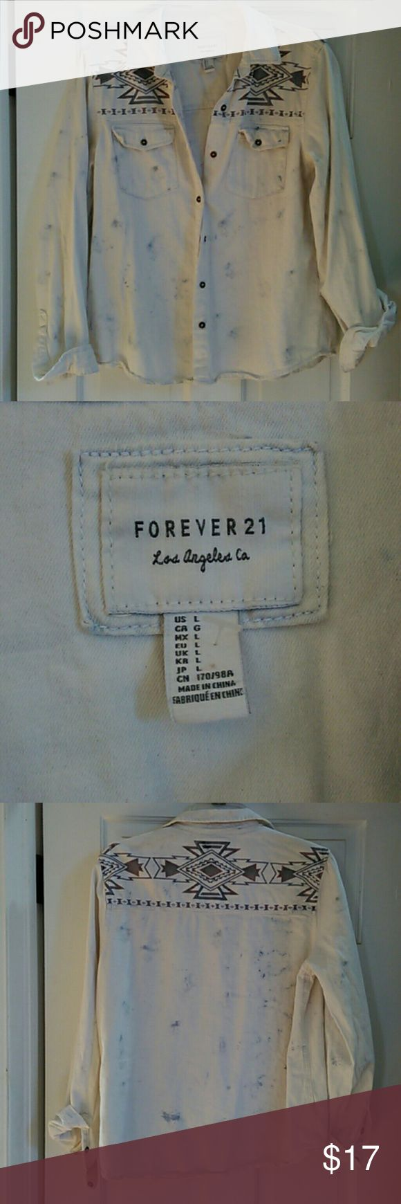 Forever21 distressed flannel ADORABLE forever21 distressed button up flannel with aztec printing. Size L , in perfect condition, new without tags, from a smoke free home. Forever 21 Tops Button Down Shirts https://www.fanprint.com/stores/fight-club?ref=5750