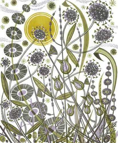 Angie Lewin ~ Skye Sun (linocut)