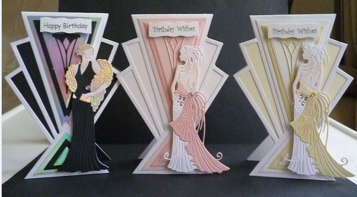 Cards made using the Art Deco Die sets