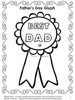 Free - Father's Day Free Glyph - In this free Father's Day activity, students will complete the glyph. Students will answer questions about their dads and color the ribbon in colors based on their answers.