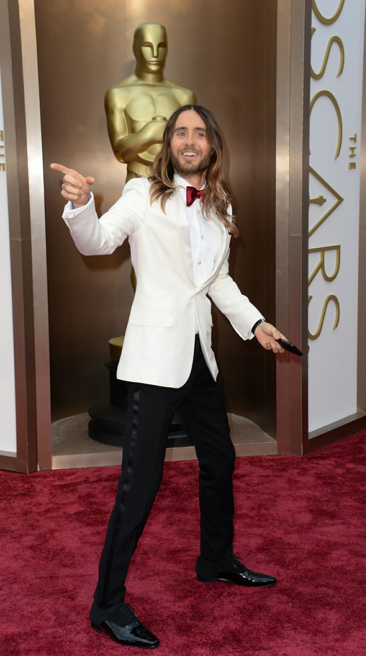 The red bowtie dude. That's what the waiters will call Jared Leto. That's actual fashion fact people. IF  Photograph: Robyn Beck/AFP/Getty I...