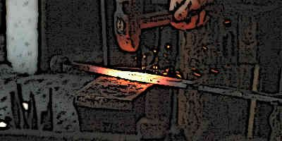 Blacksmith is forging a medieval sword from the furnace