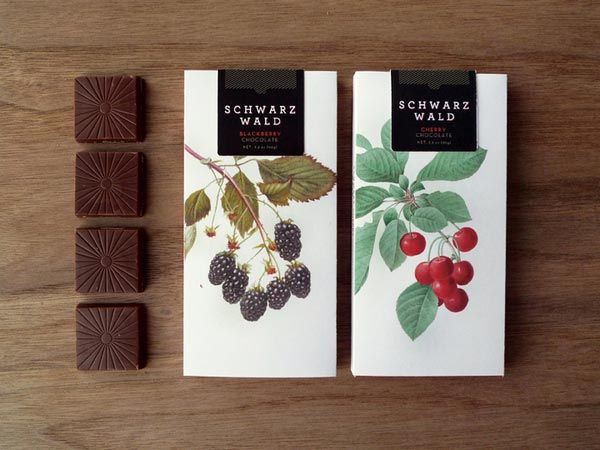 "Two flavor chocolate packaging: The goal of the project was to create a set of two chocolate flavors. The brand name ""SCHWARZWALD"" means bla..."