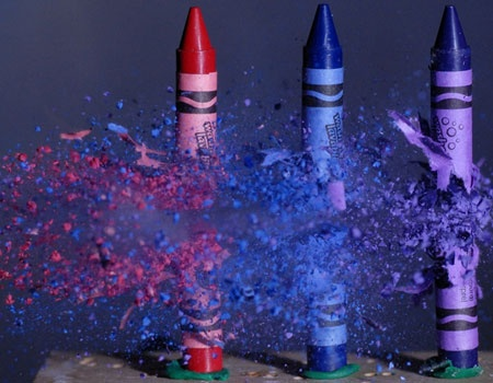 bullet through crayons, high speed photo