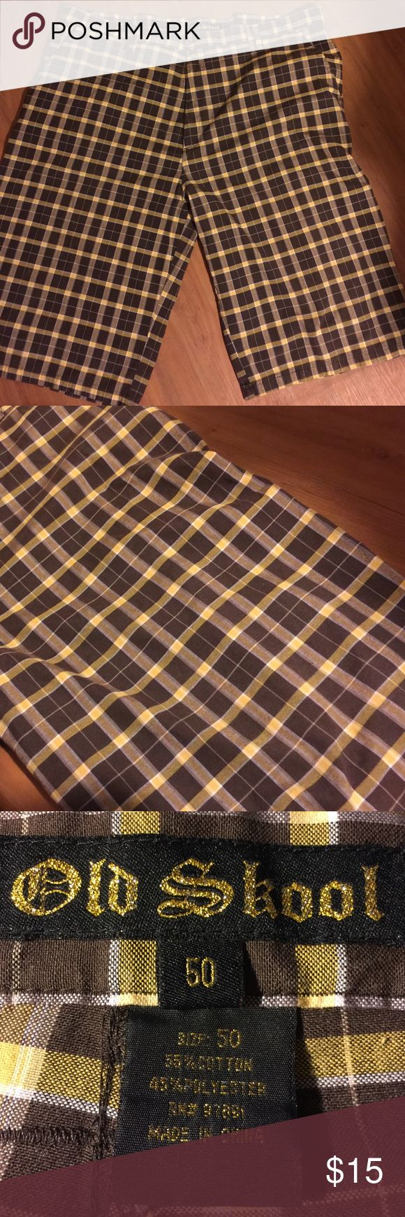 Men's Shorts These are a size 50 old-school men's brown and yellow plaid shorts Old School Shorts