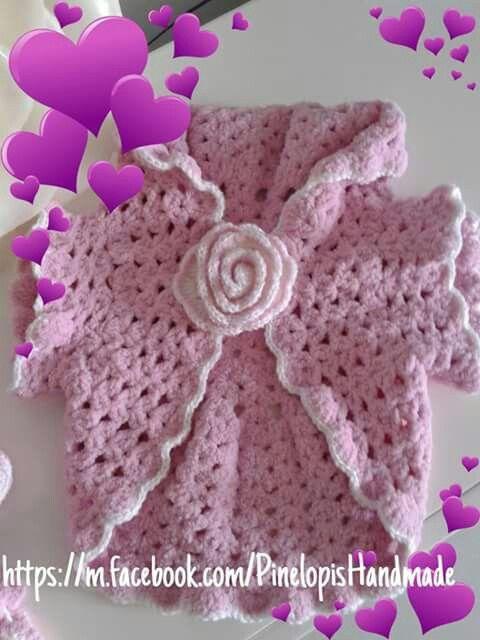 Crochet girlie cardigan!  https://m.facebook.com/PinelopisHandmade/