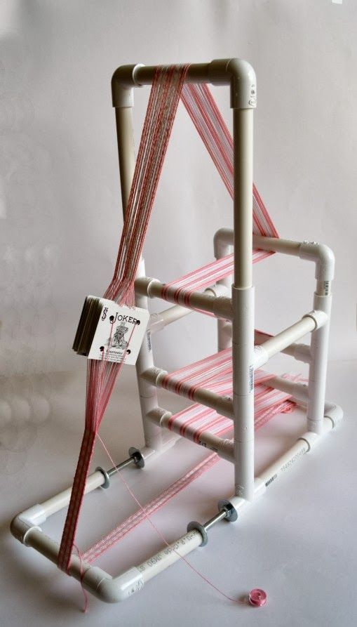 Loom inspiration: PVC inkle loom, posted by Jaime Maraia on CrochetDynamite.com, 10 January 2014. Inexpensive, compact, collapsible, lightweight, yet probably pretty durable design. See her Pinterest board on inkle looms and weaving at www.pinterest.com/crochetdynamite/inkle-loom/.