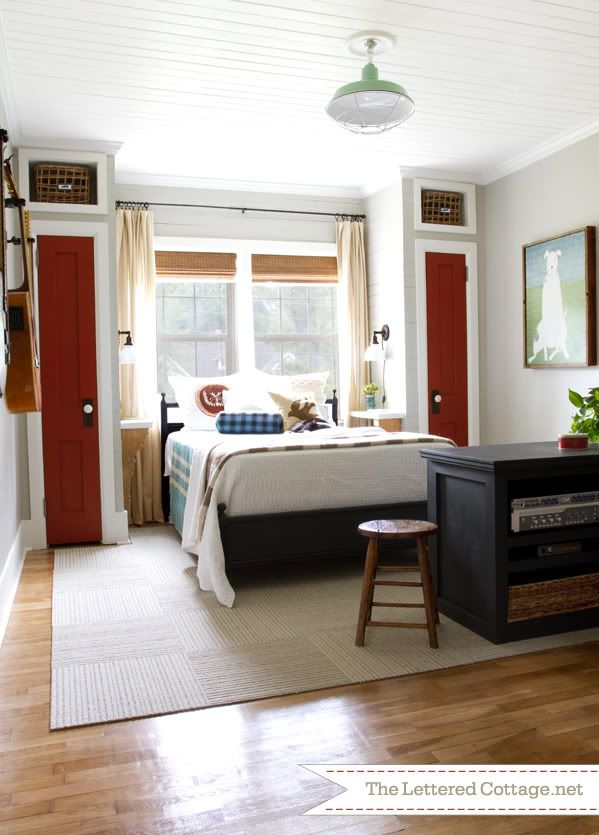 Home Office – Guest Bedroom Reveal | The Lettered Cottage  Just love the placement of the bed!! So cozy!!