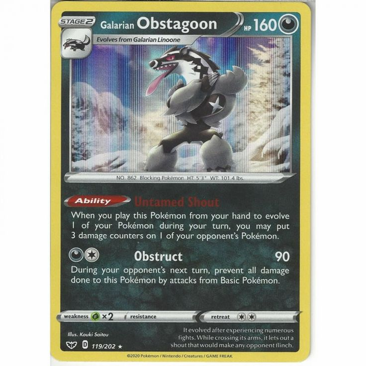 Galarian obstagoon 119202 rare holo pokemon card sword