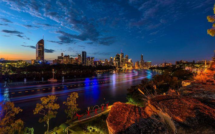 Scarica sfondi Brisbane, la sera, fiume, i grattacieli, le luci della città, Queensland, Australia